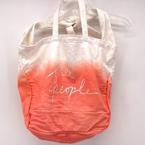 FREE PEOPLE CORAL/WHITE COTTON CLOTH TOTE BAG